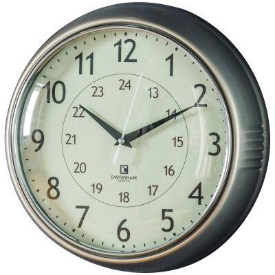 Temple Round Wall Clock, 28cm, Nickel