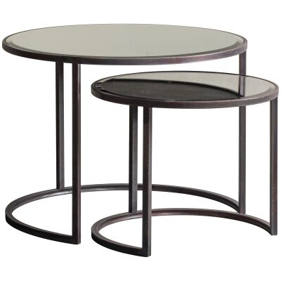 Asher 2 Piece Mirror Top Metal Nested Table Set