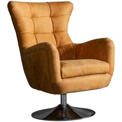 Bristol Luxurious Leather Uphostered Swivel Armchair, Saddle Tan