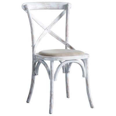 Zola Oak Timber Cross Back Dining Chair, Set of 2, Distressed White