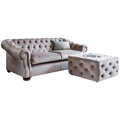 Hampton Tufted Fabric 3 Seater Sofa, Brussels Taupe