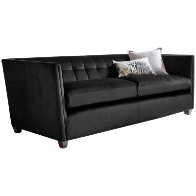 Louis Fabric 3 Seater Sofa, Brussels Black