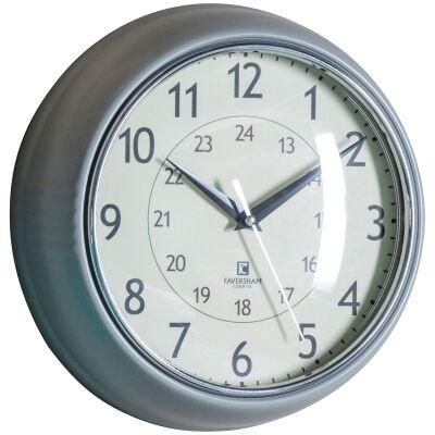 Barbican Round Wall Clock, 24cm, Slate