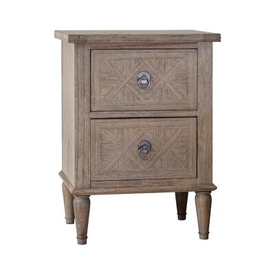Mirren Mindy Ash Timber 2 Drawer Bedside Table