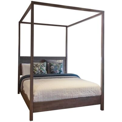 Boho Mango Wood 4 Poster Bed, Queen