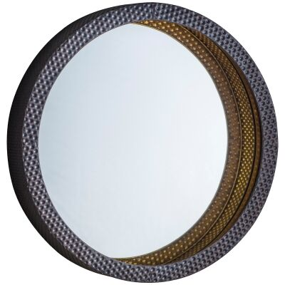 Sparks Iron Frame Round Wall Mirror, 50cm