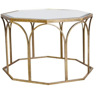 Canterbury Meatl Octagon Coffee Table, 80cm