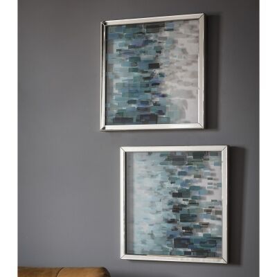 Colbalt 2 Piece Mirror Framed Wall Art Set