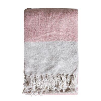 Lexden Tonal Faux Mohair Throw, Blush / Silver