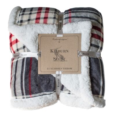 Kilburn & Scott Sherpa Double Sided Check Flannel Throw, Grey / Red