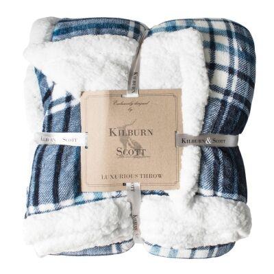 Kilburn & Scott Sherpa Double Sided Check Flannel Throw, Blue