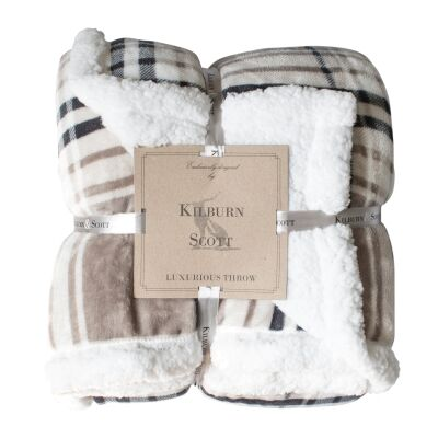 Kilburn & Scott Sherpa Double Sided Check Flannel Throw, Taupe / Grey