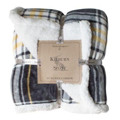 Kilburn & Scott Sherpa Double Sided Check Flannel Throw, Grey / Ochre