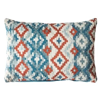 Amina Feather Filled Cotton Lumbar Cushion, Teal / Orange