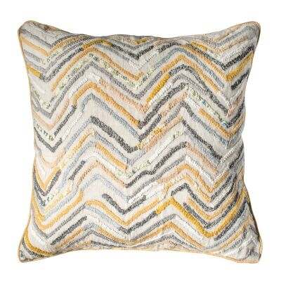 Theo Feather Filled Scatter Cushion, Ochre / Grey