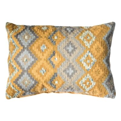 Amina Feather Filled Cotton Lumbar Cushion, Ochre / Grey