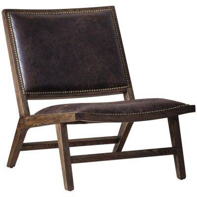 Carnaby Leather & Ash Timber Lounge Chair, Chocolate