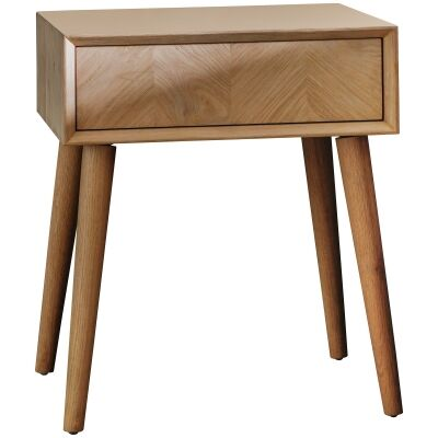 Maja Oak Timber 1 Drawer Side Table