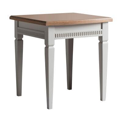 Brooklin Mahogany Timber Side Table, Cream
