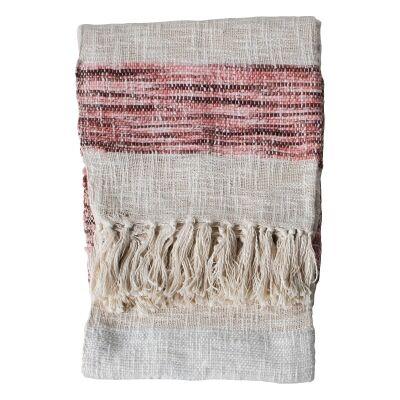 Thea Woven Cotton Throw, 150x125cm, Blush