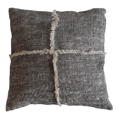 Patna Feather Filled Fringed Cotton Scatter Cushion, Grey