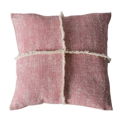 Pixie Feather Filled Fringed Cotton Scatter Cushion, Blush