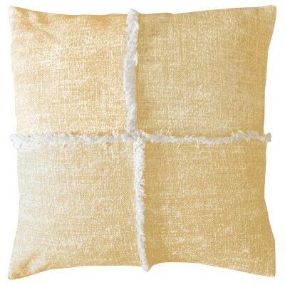 Patna Feather Filled Fringed Cotton Scatter Cushion, Ochre