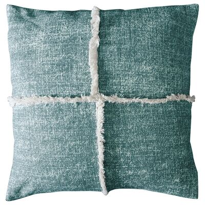 Patna Feather Filled Fringed Cotton Scatter Cushion, Teal