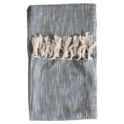 Safa Fringed Cotton Throw, Grey