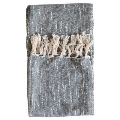 Surat Fringed Cotton Throw, Grey