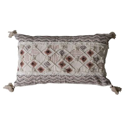 Sade Feather Filled Embroidered Cotton Lumbar Cushion