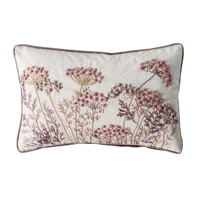 Peyton Feather Filled Embroidered Cotton Lumbar Cushion