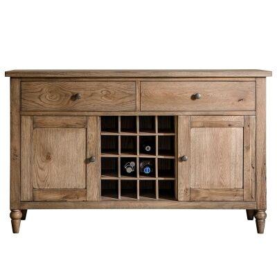Charlotte Oak Timber 2 Door 2 Drawer Sideboard, 130cm