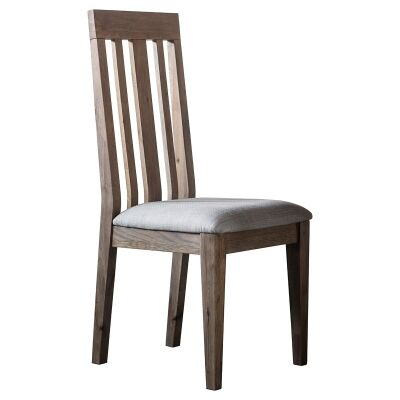 Charlotte Oak Timber Dining Chair with Fabric Seat, Set of 2