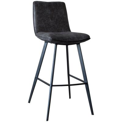 Polly Faux Leather Counter Stool, Set of 2, Dark Grey