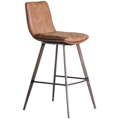 Polly Faux Leather Counter Stool, Set of 2, Tan