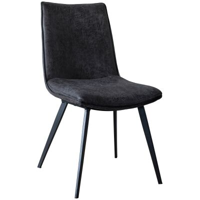 Set of 2 Palmer Faux Leather Dining Chairs, Dark Grey