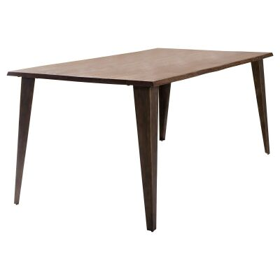 Fabia Oak Timber & Metal Dining Table, 180cm
