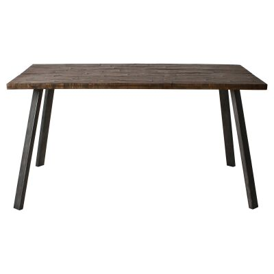Connie Rustic Acacia Timber & Metal Dining Table, 150cm