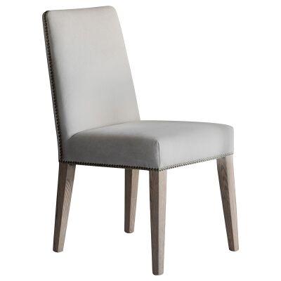 Reggie Linen Fabric Dining Chair, Set of 2, Cement Grey