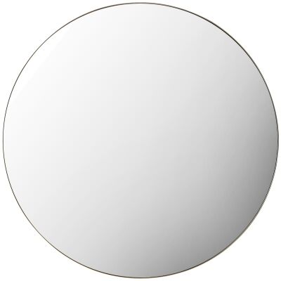 Hayle Metal Frame Round Wall Mirror, 100cm, Black