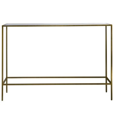 Roonie Glass Topped Metal Console Table, 110cm