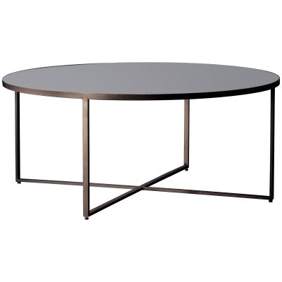 Torrance Glass Top Metal Round Coffee Table, 100cm
