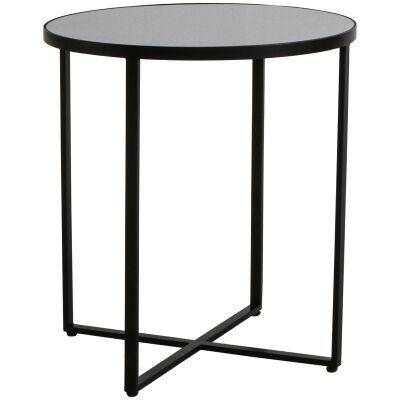 Torrance Glass Top Metal Round Side Table