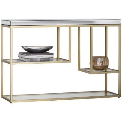 Pippard Mirror & Metal Console Table, 120cm, Champagne