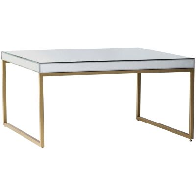 Pippard Mirror & Metal Coffee Table, 60cm, Champagne