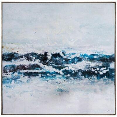 Atlantic Ocean Waves Framed Giclee Canvas Wall Art Print, 100cm