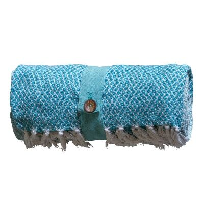 Kingsley Diamond Weave Cotton Throw, Teal