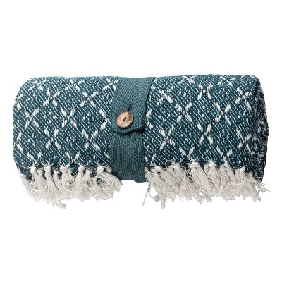 Kingsley Cross Weave Cotton Throw, Teal