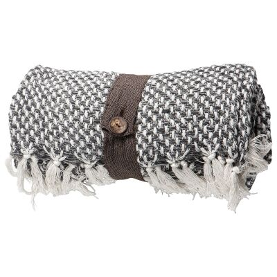 Kingsley Basket Weave Cotton Throw, Charcoal